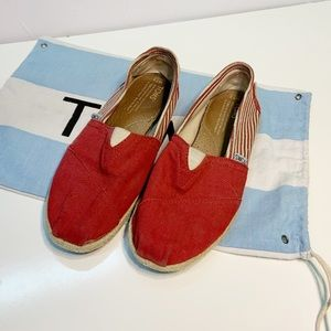 Toms Red and White College Striped Espadrilles